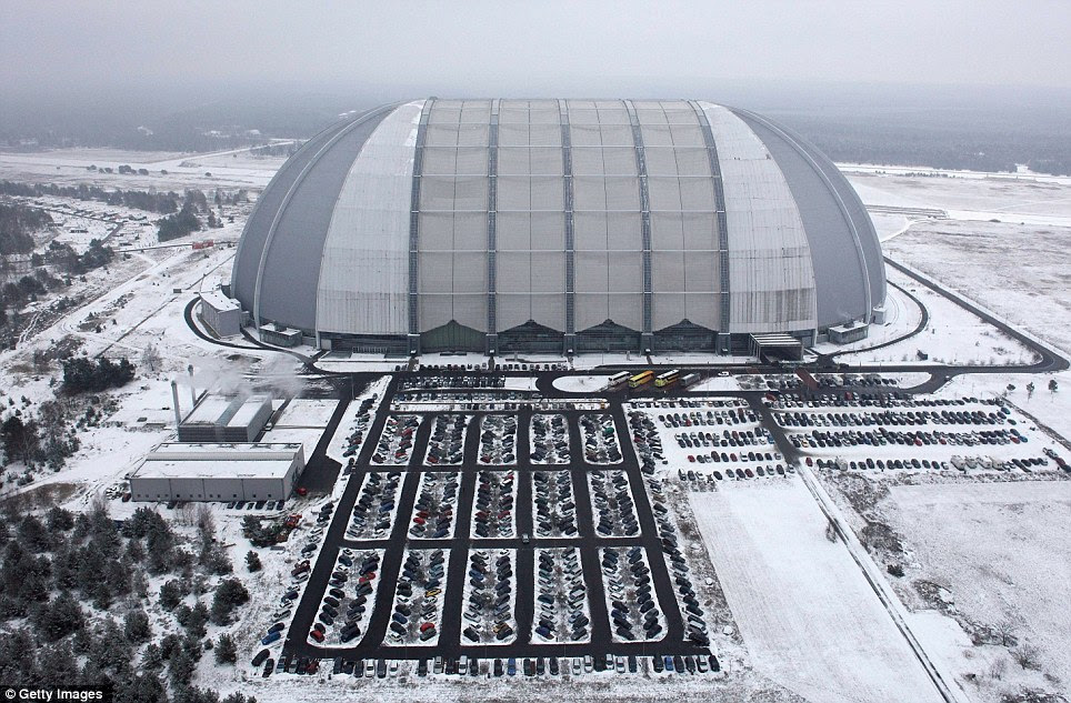Cold: Snow surrounds the giant hangar which houses Tropical Islands