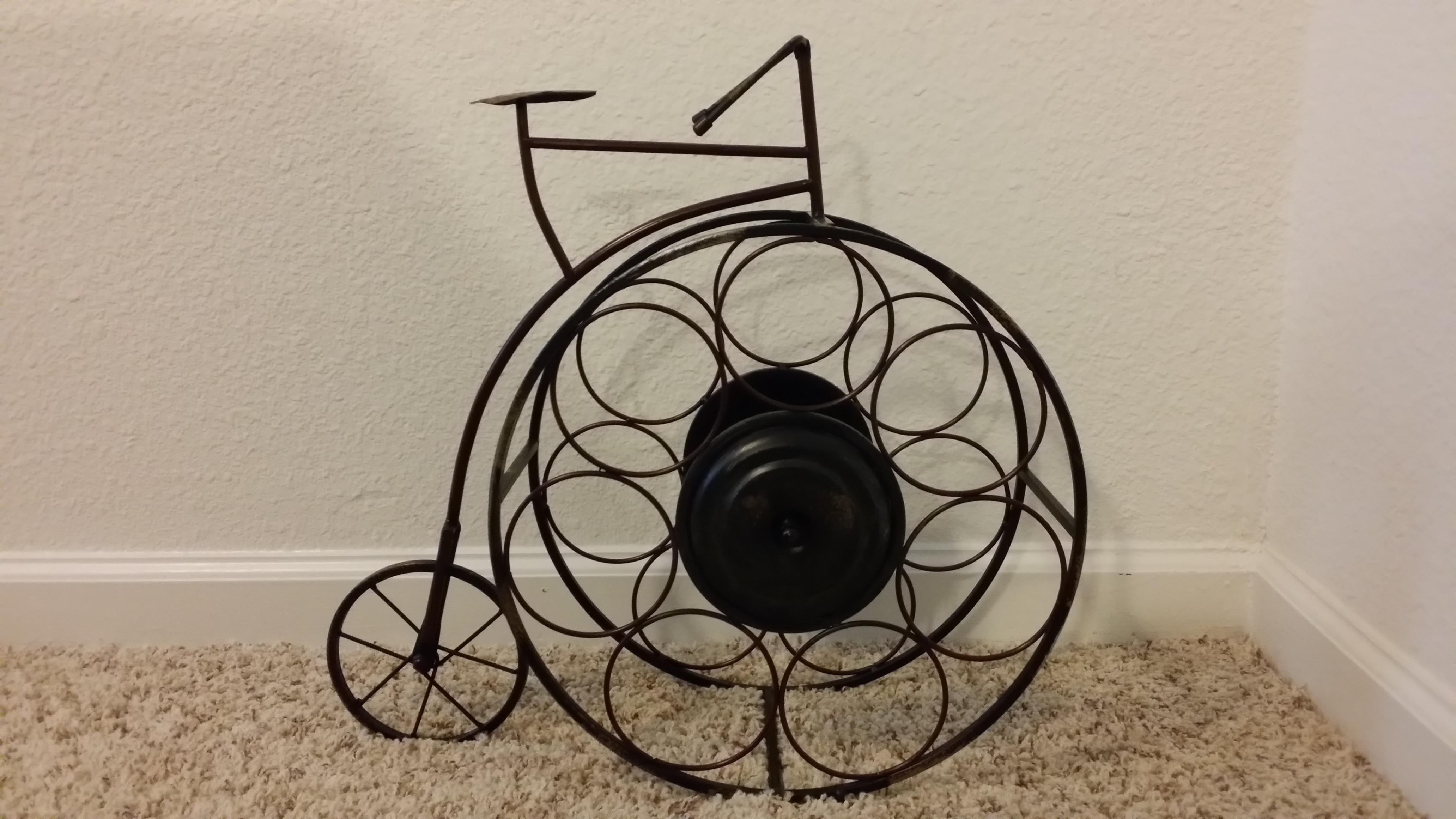Metal Table Top Bicycle Wine Bottle Holder