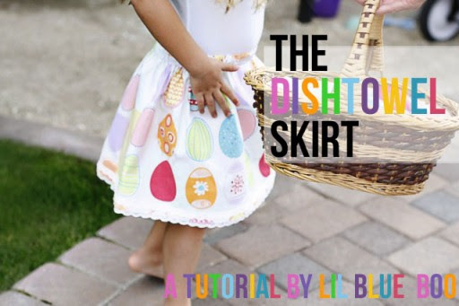 dishtowel skirt tutorial via lilblueboo.com