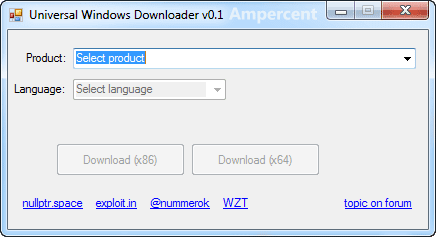 Universal Windows Downloader start screen