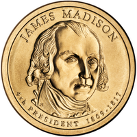 James Madison presidential $1 coin, obverse
