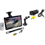 """7"""" Window Suction-Mount LCD Widescreen Monitor & License-Plate-Mount Backup Color Camera with Distance-Scale Line"""