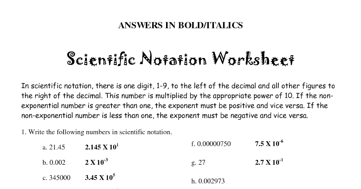 31 scientific notation and standard notation worksheet
