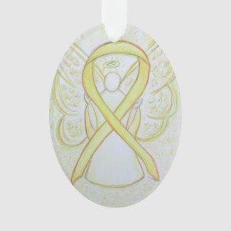 Yellow Awareness Ribbon Angel Ornament Pendant