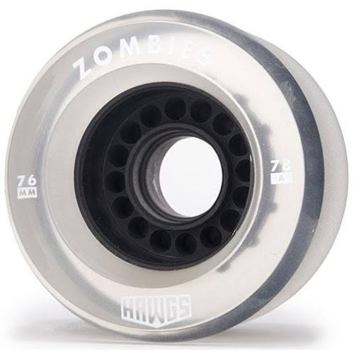 Zombie Hawgs Clear / Black Core Longboard Wheels 76mm 78a