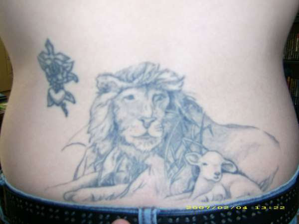 Lion And Lamb Cross In Rose Tattoo