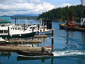 Boats moored at the marina, Friday Harbor, Was...