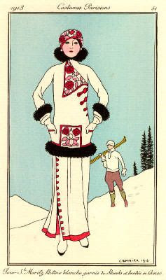 George Barbier, Pour St. Moritz, pochoir 1913 (from Journal des Dames et des Modes - a Parisian fashion journal published by Tom Antongini