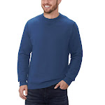 GH Bass Men's Pullover Crew Sweatshirt, Blue, Large