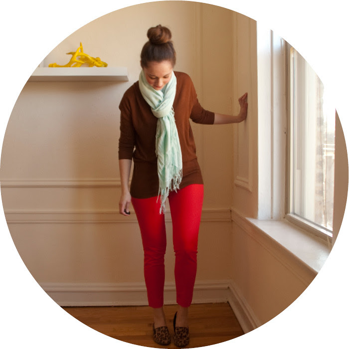 april outfit, ootd, red pants, j.crew winnie pants, red skinny trousers, red with brown, red and mint, spring outfits, casual work outfits, scarf, what to wear with, outfit ideas