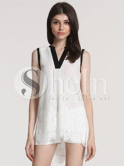 White Sleeveless V Neck Lace High Low Dress pictures