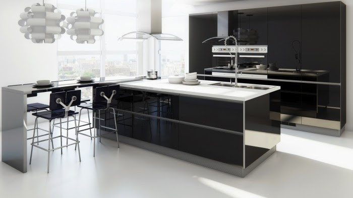 An extended bar allows for four to dine comfortably while still allowing for a full island for work space.