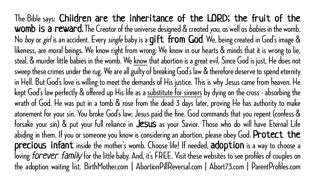 Babies Are A Blessing Gospel Tracts