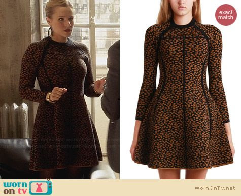 Jeannie's yellow animal print sweater dress on House of Lies