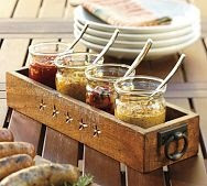 Love this idea! // variety of sauces in mason jars