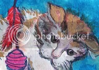 cat, animal, abstract, original, calico