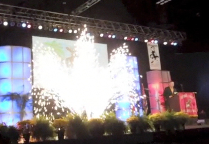 indoor pyrotechnics gerb fountian at a event