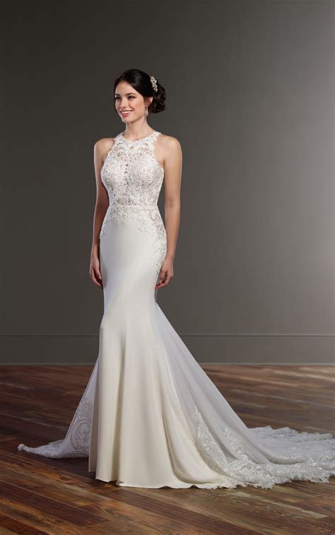 Illusion Racerback Wedding Dress with High Neck   Martina