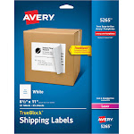 """Avery Labels, 8.5"""" x 11"""", White - 25 count"""