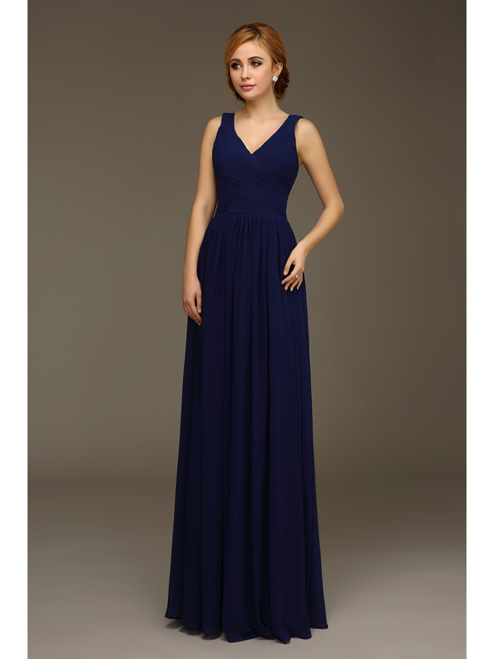 long navy blue a line formal wedding bridesmaid dresses