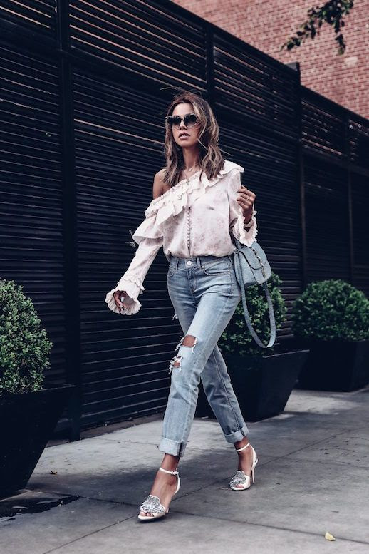 Le Fashion Blog Sunglasses Cold shoulder Floral Ruffled Blouse Girlfriend Jeans Rochas Embellished Heels Via The Viva Luxury