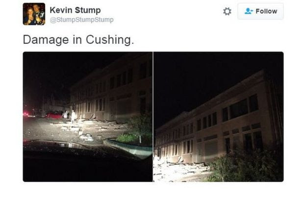 Twitter user Kevin Stump (@StumpStumpStump) posts pictures of damage to buildings following an earthquake in Cushing, Oklahoma