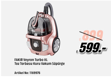 FAKIR Veyron Turbo XL Toz Torbasız Kuru Vakum Süpürge 599TL