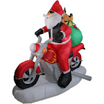 Northlight 6.5' Inflatable Santa Claus on Motorcycle Lighted Christmas Yard Art Decoration 32912565