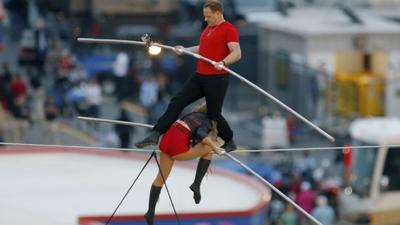 Wallenda family high-wire artists cross speedway without net. Watch.