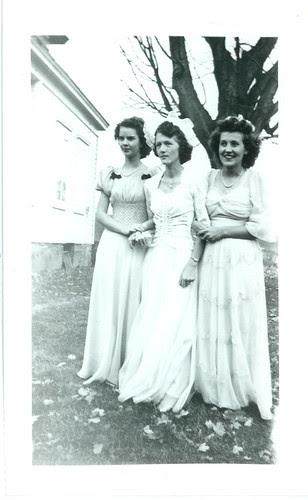 three women at a bridal party