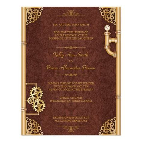 Steampunk Small Rectangular Invitation   Invites wedding