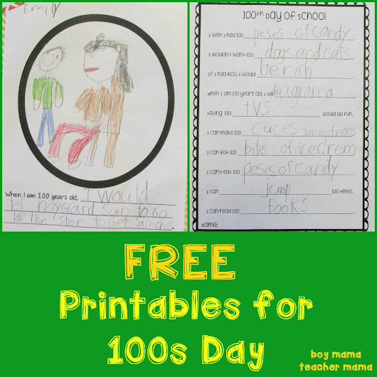 FREE Printables for 100s Day