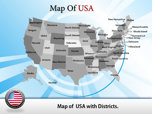 Travel to the USA with PowerPoint map templates
