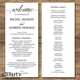 Rustic Wedding Program, Wedding Ceremony, Order of Events
