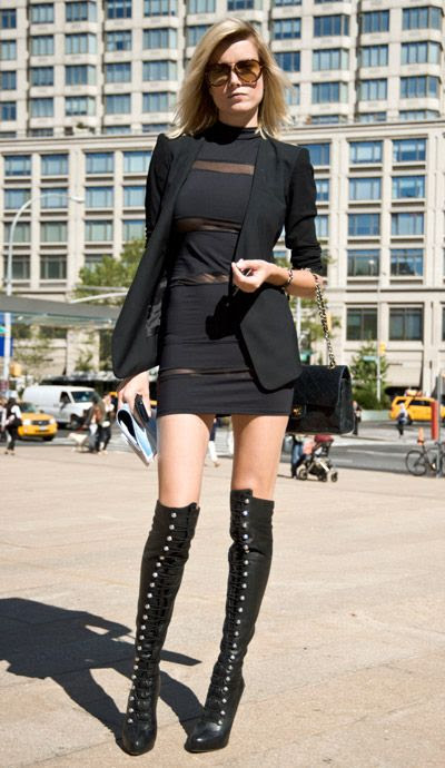 go daytime-risqué in a sheer-paneled mini and over-the-knee boots (pictured: Eugenia) #fashion #streetstyle