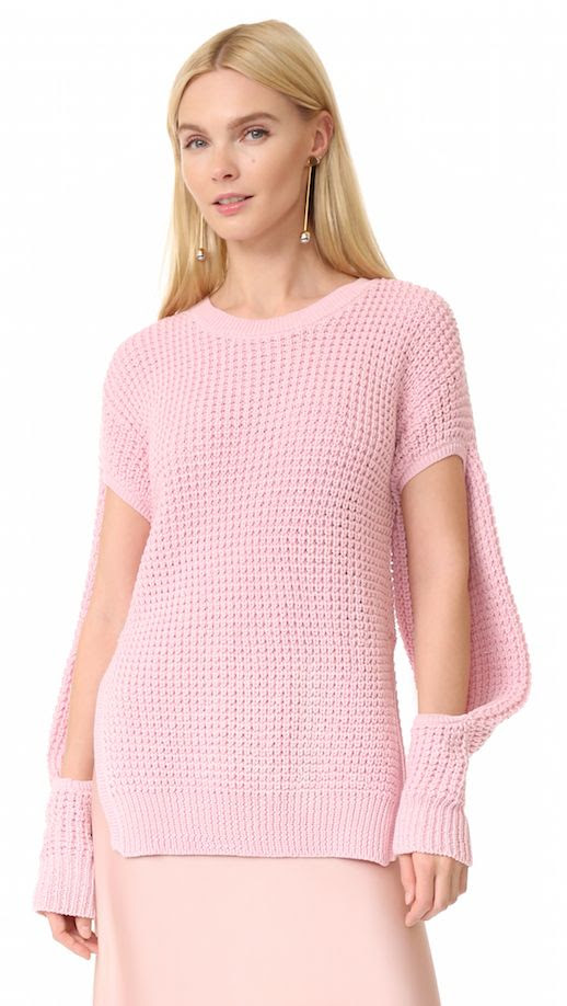Le Fashion Blog Best Spring Sweaters Preen Pink Cutout Sweater Via Shopbop