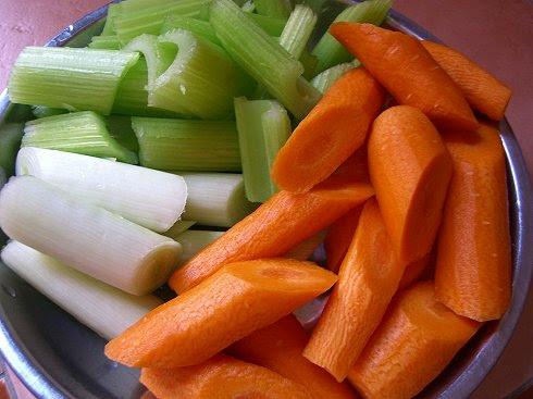 Celery, leek, carrot