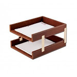 Dacasso Leather Double Letter Trays - Brown CO896429
