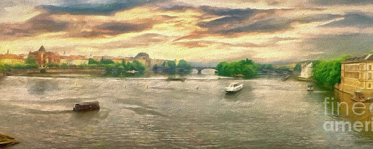Prague River Panorama From Charles Bridge by Leigh Kemp