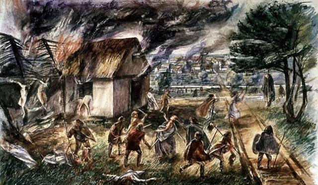 La Mujer de Harper Road vivió en los tiempos de la invasión romana de Britania y pudo incluso ser testigo de la Revuelta de Boudica y la subsecuente devastación de la ciudad de Londinium (ilustración).