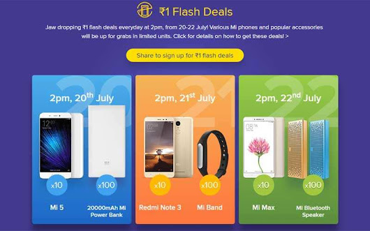 Xiaomi Flash sale: Mi 5, Redmi Note 3 available at Rs 1 from July 20-22