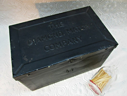 The DIAMOND MATCH COMPANY Tin Box With Raised by ozarksfinds