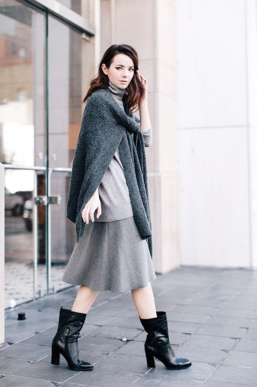 Le Fashion Blog Grey Knit Sweater Gray Midi Skirt Black Leather Boots Via Sea Of Shoes