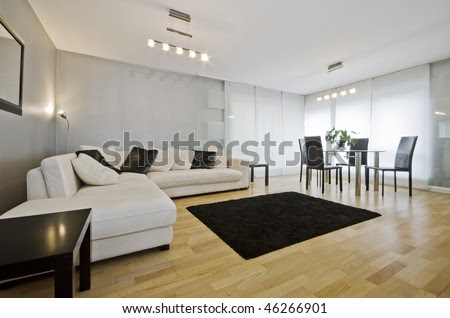 Modern Luxury Living Room With White Leather Corner Sofa And Round ...