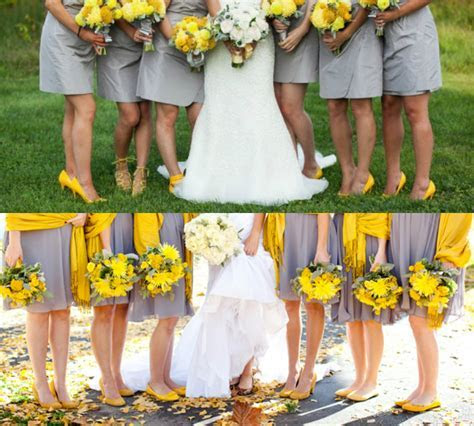 yellow shoes with gray bridesmaid dresses ? Budget