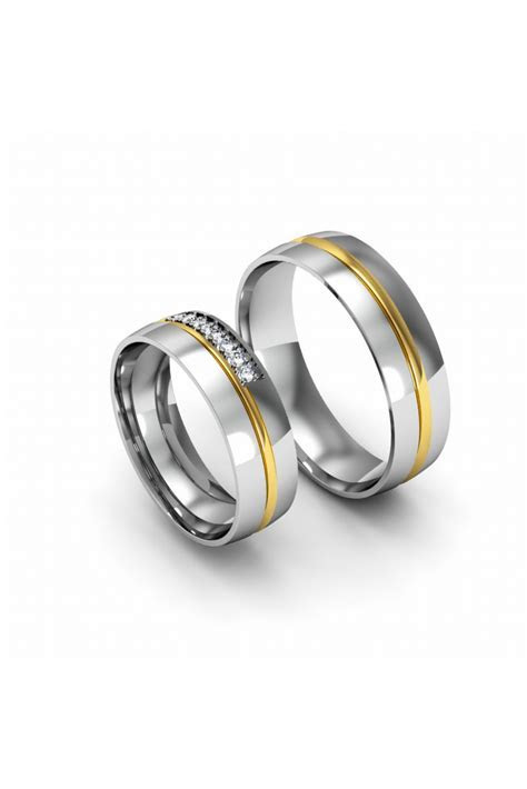 Elegant Modern Yellow White Gold Wedding Ring