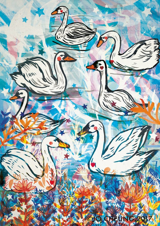 Swans Art Print A4 and A3 Artwork Nature Widlife