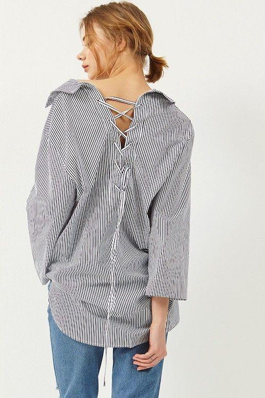 How To Wear Lace Up Shirt Storets Lace Back Stripe Shirt Jeans Denim Le Fashion Blog