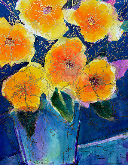 "Summer Serenade by Filomena Booth Mixed watermedia ~ 20"" x 16"""