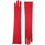 Adult Long Black Satin Gloves